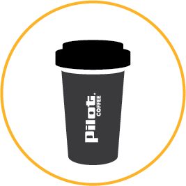 Variety of blends pilot coffee cup