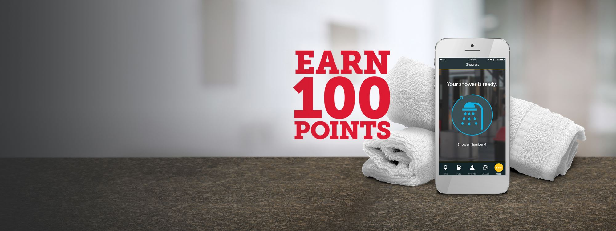 myPilot App Earn 100 points with shower reservation